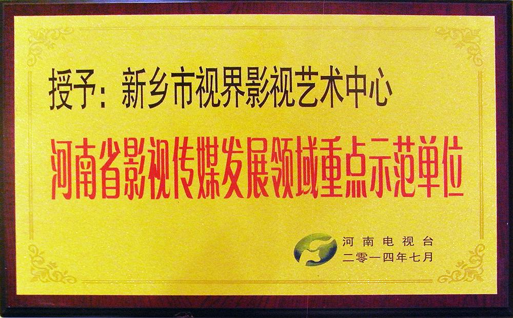 """奖牌骗我哦:省电视台为视界影视颁发""""河南影视传媒发展领域重点示范单位""""牌匾"""
